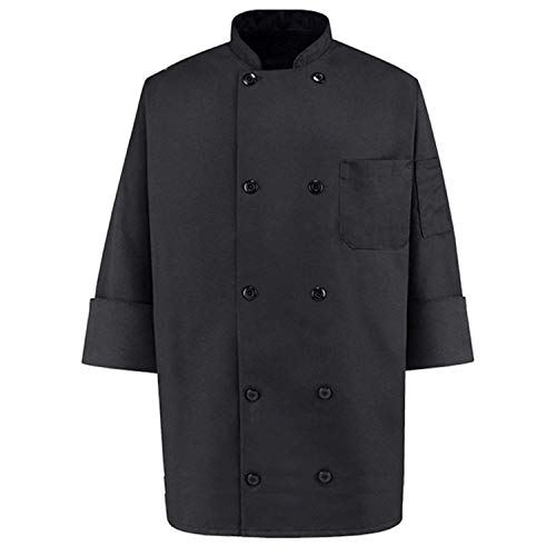 350 Chef Apparel  Pearl Buttons Chef Coat-Easy-Care Twill Chef Jacket for men ,Black,Small