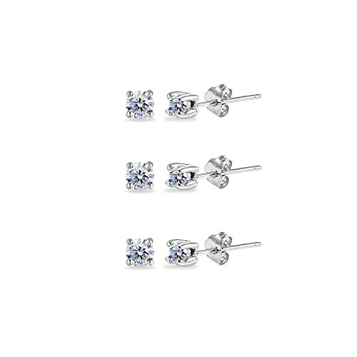3-Pair Set Sterling Silver Clear 3mm Round Stud Earrings Made with Swarovski Crystals