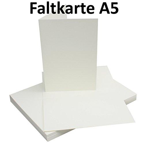 25 Faltkarten DIN A5 - Natur-Weiss - PREMIUM QUALITÄT - 14,8 x 21 cm - sehr formstabil - für Drucker geeignet! - Qualitätsmarke: NEUSER FarbenFroh