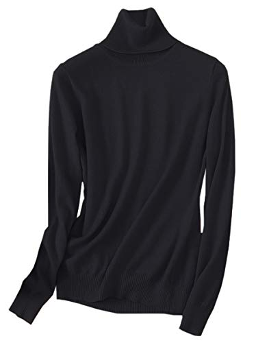 SANGTREE Women's Cashmere Turtleneck Long Sleeves Lightweight Pullover Sweater, Black, US L(12-14)