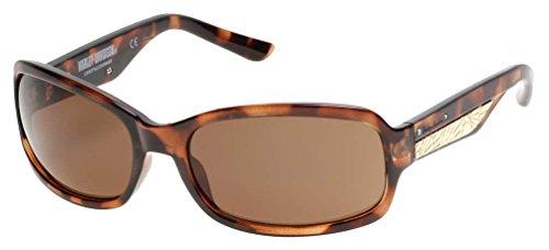 Harley-Davidson Women's Metal Plaque Sunglasses, Dark Havana Frame & Brown Lens