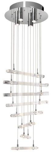 Elan Lighting 83105 Trappa 20LT Pendant, Chrome Finish with Clear and Frosted Crystals