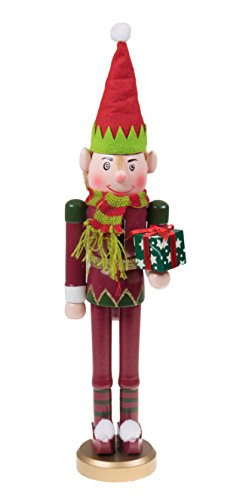 Santa's Elf Christmas Nutcracker by Clever Creations | Traditional Wooden Nutcracker | Wearing Elf Hat and Scarf | Holding Gift | Festive Christmas Decor | Perfect for Shelves and Tables | 15