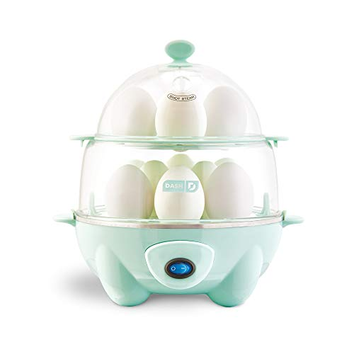 Dash DEC012AQ Deluxe Rapid Egg Cooker: Electric, 12 Capacity for Hard Boiled, Poached, Scrambled, Omelets, Steamed Vegetables, Seafood, Dumplings & More with Auto Shut Off Feature Aqua ()
