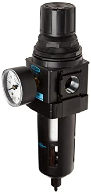 "Dixon B28-06MG Manual Drain Wilkerson Standard Filter/Regulator with Transparent Bowl and Guard, 3/4"" Size, 175 SCFM Flow, 150 psig Pressure"