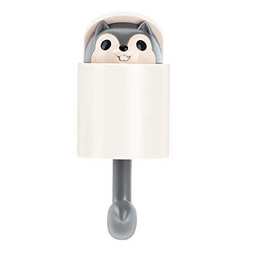 TTbuy Wall Hook Adhesive Home Cartoon Squirrel Cute Hanger Simple to Use Key for Umbrella Towel Cap Coat (8.7x5.3x5.1CM, Gray)