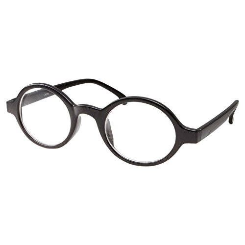 Baby Professor X Costume (Kids Nerd Oval Professor Children's Costume Glasses, Clear Lens (Age 4-12) Black)