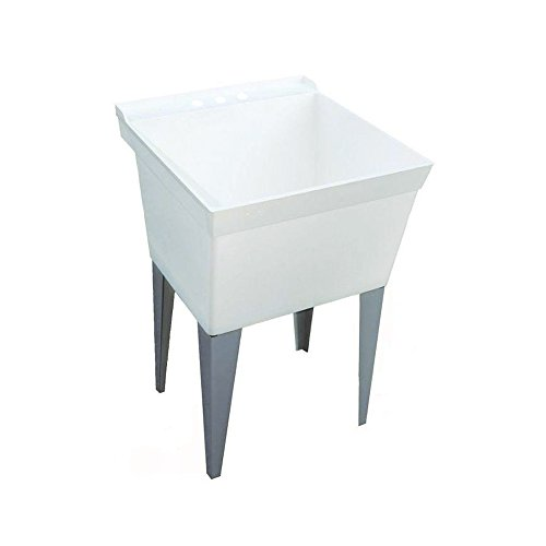 Swan MF0000FM.001 Veritek Single Bowl Free Standing Laundry Tub with 4 Metal Legs, 23.375-in L X 21.625-in H X 33-in H, White -