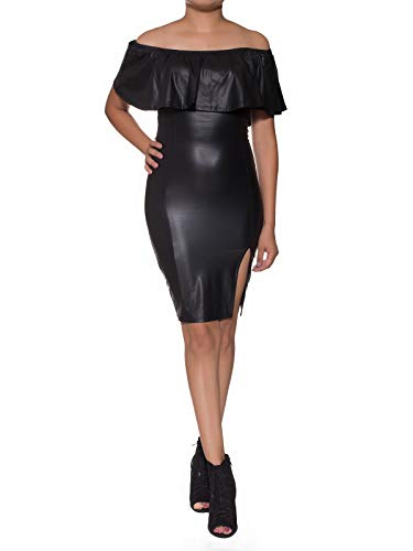 Instar Mode Women's Faux Leather Off Shoulder Bodycon Midi Dress- Made In USA Black L