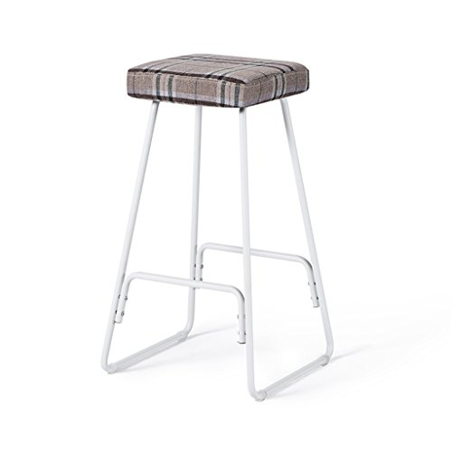 Bar Stool, Fabric High Stool Bench, Kitchen Breakfast Chair, 39cm 39cm 69.5cm (grid Color) ( Color : White ) by Boyang