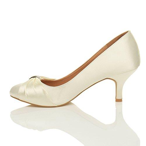 Ajvani - Zapatos de vestir para mujer marfil brillante