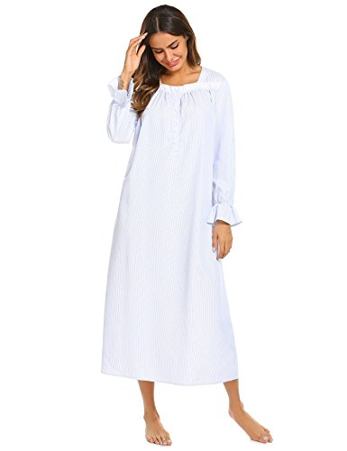 e0b12af04a ekaouer Sleepwear Cotton lace Trim Victorian Sleep Dress Long Nightgown for  Women with Long Sleeve