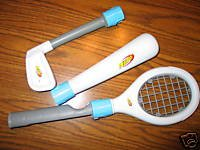 Nintendo Wii System Tennis Racket (SOFT NERF STYLE) and other Sports item (SOFT NERF STYLE): Nintendo Wii Tennis Racket with Baseball bat and Golf Club!!! (THEY ARE ALL NERF SOFT BASED STYLE) (REQUIRE A WIIMOTE)(WIIMOTE IS NOT INCLUDED AND ARE SOLD SEPERATELY)(WII SYSTEM IS NOT INCLUDED)(WII SYSTEM IS SOLD SEPERATELY)(WII NERF SPORTS PACK ONLY!!!)