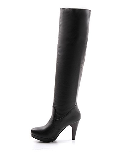 AllhqFashion Damen Hoher Absatz Rein Rund Zehe Ziehen auf Stiefel, Schwarz, 37