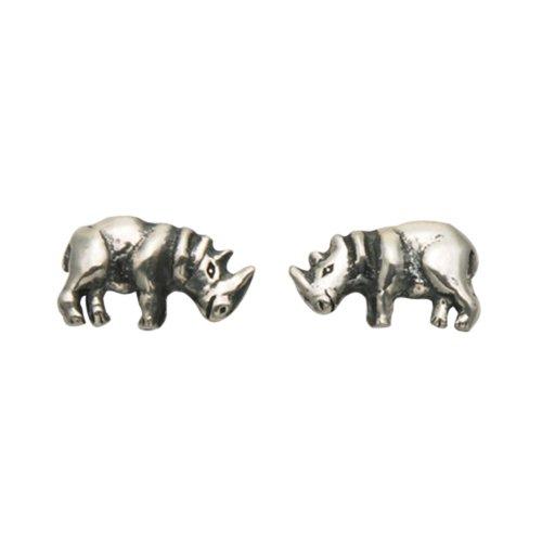 Small Sterling Silver Rhino Stud Earrings (Earrings Rhino)