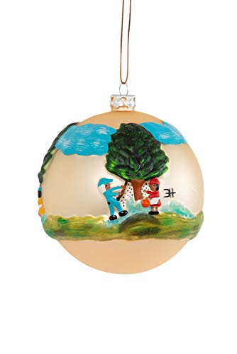 "The Clementine Hunter Collection-Collectible Christmas Ornaments, Hand Sculpted and Painted, Hand Blown Glass, Handmade - Pecan Picking 4"" Round Ball Christmas Ornament"