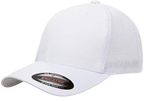 Flexfit Trucker Hat for Men and Women | Breathable Mesh, Stretch Flex Fit Ballcap w/Hat Liner (White)