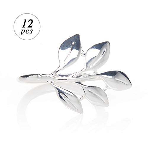 AW Bridal Napkin Rings Set of 12, Silver Leaf Napkin Holders for Vintage Christmas, Holidays, Woodsy Autumn -