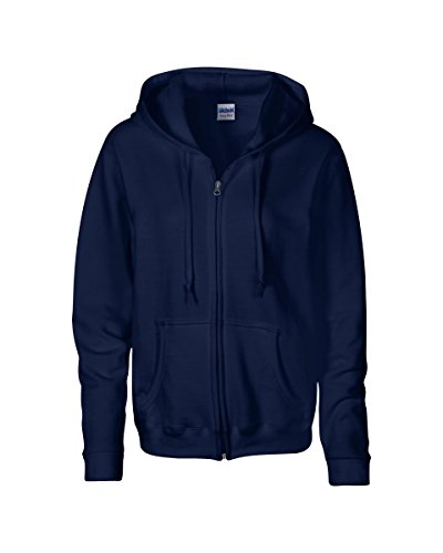 Gildan Women's Heavy Blend Full-Zip Hooded Sweatshirt, Large, Navy (Cotton Blend Zip Sweatshirt)