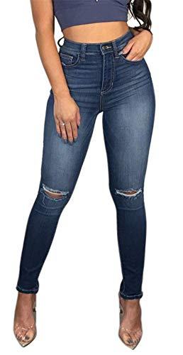 (TENGFU Women's Juniors Mid-Rise Distressed Slim Fit Stretchy Skinny Jeans Jegging Blue)