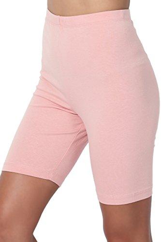 Pink Stretch Leggings - TheMogan Women's Mid Thigh Cotton High Waist Active Short Leggings Dusty Pink M