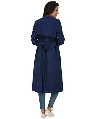 Marine Manica Colore Inclusa Cintura Cappotti Biran Giacca Puro Tasche Laterali Confortevole Grazioso Coat Donna Invernali Lunga Vento Giubotto y0Nv8wnmO
