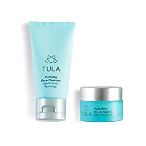TULA Probiotic Skin Care Mini Best Sellers Kit - Travel-friendly kit with Purifying Cleanser and Mini Hydrating Day & Night Cream for Healthy and Hydrated Skin