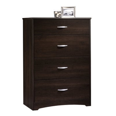 Four Drawer Chest Dresser in Cinnamon Cherry Easy-Glide Drawers with Safety Stops Bedroom Furniture by AVA Furniture