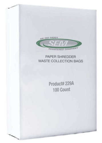 SEM #229A Paper Shredder Waste Bags (100 plastic bags/case) by Security Engineered Machinery