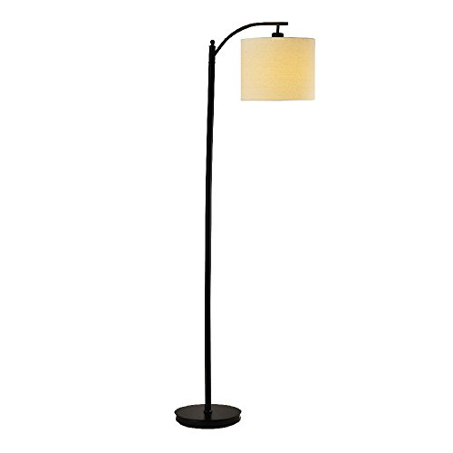 Mane Hanging Lamp Shade Floor Lamp- 9W Energy Efficient Classic Arc Floor Lamp with Beige Lamp Shade for Living Rooms, Bedrooms, Family Rooms, Offices, and Studies- Black