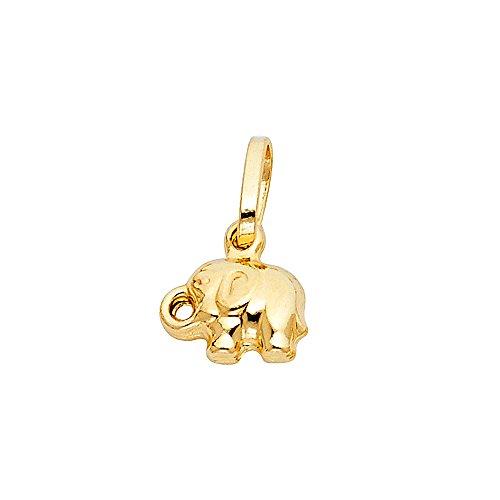 14k Yellow Gold Animal Hollow Elephant Mini Puff Small/Mini Charm Pendant (8mm x 10mm) - 14k Solid Gold Elephant Charm