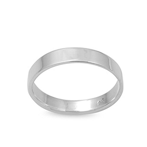 (Double Accent Sterling Silver Wedding Ring Flat Cigar Plain Wedding Band 4MM (Size 4 to 12) Size 4)
