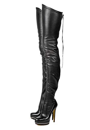 termarnoov 2018 Women Thin High Heel PU Leather Platform Booties Winter Zipper Over The Knee Boots (12, Black)]()