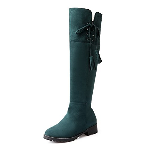 Allhqfashion Women's Low Heels Solid Round Closed Toe Zipper Boots Green