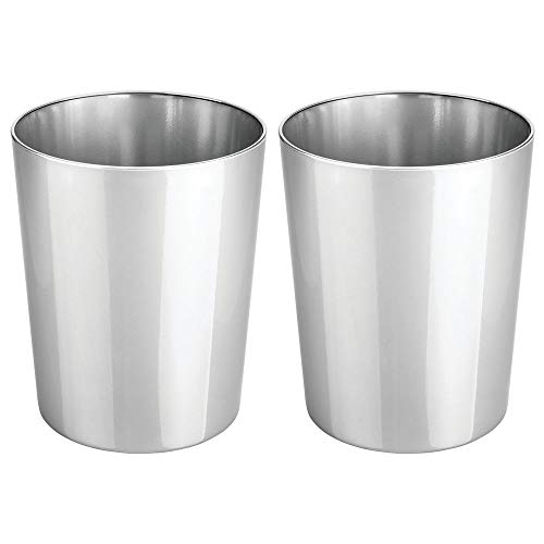 mDesign Round Metal Small Trash Can Wastebasket, Garbage Container Bin for Bathrooms, Powder Rooms, Kitchens, Home Offices - Durable Steel, 2 Pack - Chrome