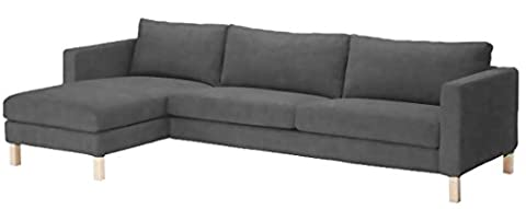 Sofa Cover Only! Durable Heavy Cotton Karlstad Three Seat Sofa and Chaise Lounge Cover Replacement. Ikea Karlstad Sectional or Corner (Sofa Chaise Cover)