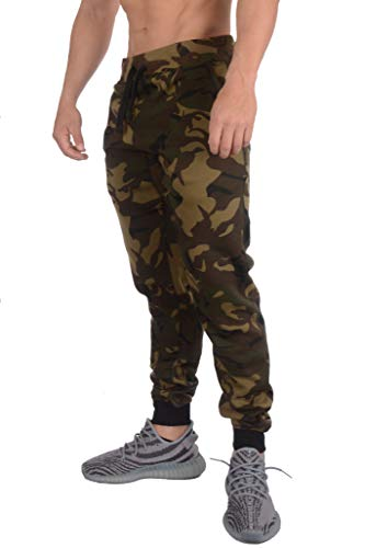 Medium Pants Camo Mens - YoungLA Mens Slim Fit Joggers Fitness Activewear Sports Fleece Sweatpants for Gym Training (Camo Green, Large)