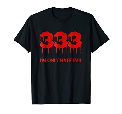 Funny Halloween T-Shirt 333 Half Evil Costume Outfit -