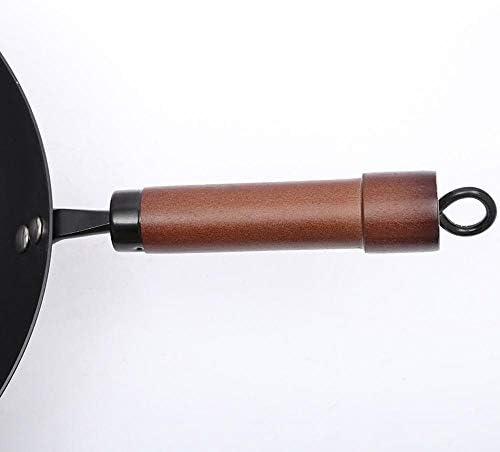 PZXY Woks Manche en bois détournement bouche Wok Wok Wok antiadhésif Induction cuisinière générale non couché
