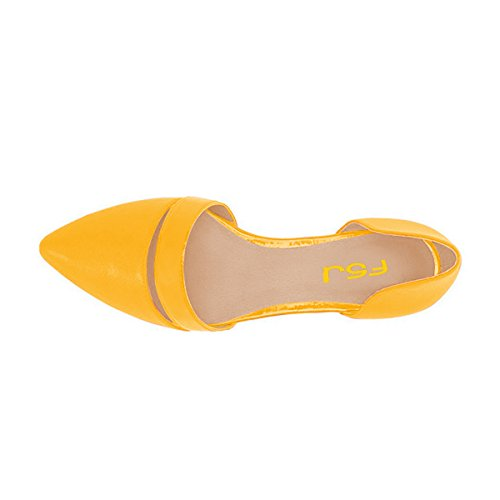 Fsj Donna Carino Ballerine Dorsay Per Comfort Scarpe A Punta Tacco Basso Scarpe Da Donna Taglia 4-15 Us Giallo