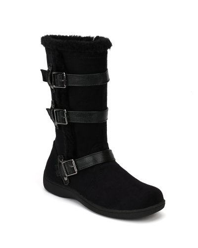 Little Angel Winter-722E Suede Fur Accent Buckle Strap Riding Boot (Little Girl/ Big Girl) - Black (Size: Little Kid - Designer Boots Kids