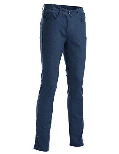 FLATSEVEN Mens Slim Fit Flat Front 5 Pocket Casual Twill Chino Pants Trousers (CH2000) Blue, L