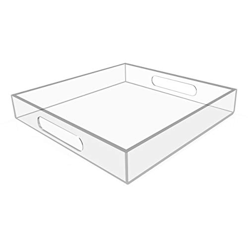 NIUBEE Clear Serving Tray 12x12 Inches -Spill Proof- Acrylic Decorative Tray Organiser for Ottoman Coffee Table Countertop with Handles (Square Coffee Acrylic Table)