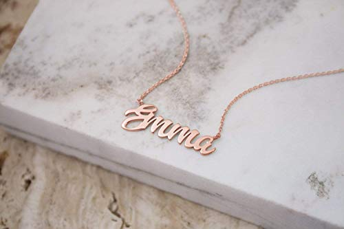 - Gold Name Necklace, Custom Name Pendant, 9K, 14K, 18K Gold Necklace, Rose Gold Name, Personalized Gift For Her/code: 0.003