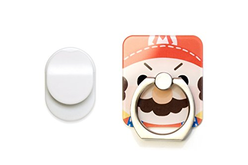 105 Finishes (Cell Phone Ring Stand & Holder by Hoot   H Ring Compatible with Iphone, Android, Ipad and Tablet   Reflective Glass Like Finish   Light Weight yet Durable Ring   360 Rotation   Super Mario   105)