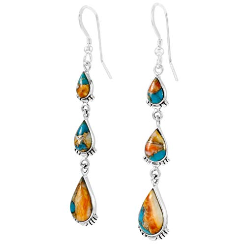 Turquoise Earrings 925 Sterling Silver & Genuine Turquoise (Spiny Turquoise)