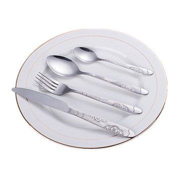 Laid - Kitchen 16pcs Stainless Steel Fork Spoon Knife Dinnerware Tableware Cutlery Flatware Set - Hardening Unmoving Primed Fixed Dictated Hardened Situated Placed Solidifying