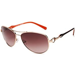 Juicy Couture Women's Decos Aviator Sunglasses,Shiny Light Gold Frame/Brown Gradient Lens,one size