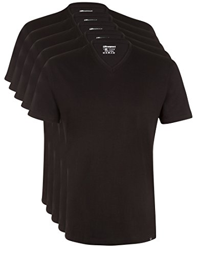 Ultrasport Herren Sport Freizeit T-Shirt mit V-Ausschnitt 5er Set, Schwarz, XL, 1318-200