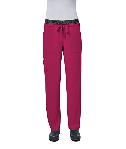 (IMAGE by Alexander's Uniforms IM1310 Women's Yoga Style Imprinted Waistband Pant (French Rose, Small))
